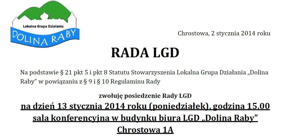 Zawiadomienie o Posiedzeniu Rady LGD