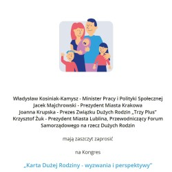 """Zaproszenie na kongres """"Karta Dużej Rodziny – wyzwania i perspektywy"""""""