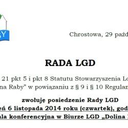 """Zawiadomienie o posiedzeniu Rady LGD """"Dolina Raby"""""""